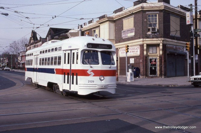 SEPTA PCC car #2129 at 49th Street & Woodland Avenue in West Philadelphia PA. This car was built by the St Louis Car Company in 1948. It is now preserved by the Pikes Peak Historical Street Railway at Colorado Springs, CO.