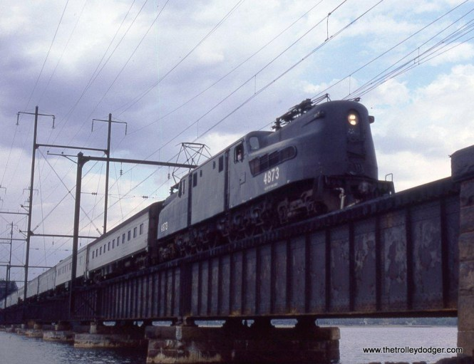 Photo 5. GG-1 #4873 crossing RIVER drawbridge across the Raritan Bay between Perth Amboy and South Amboy, NJ. 5-4-82.