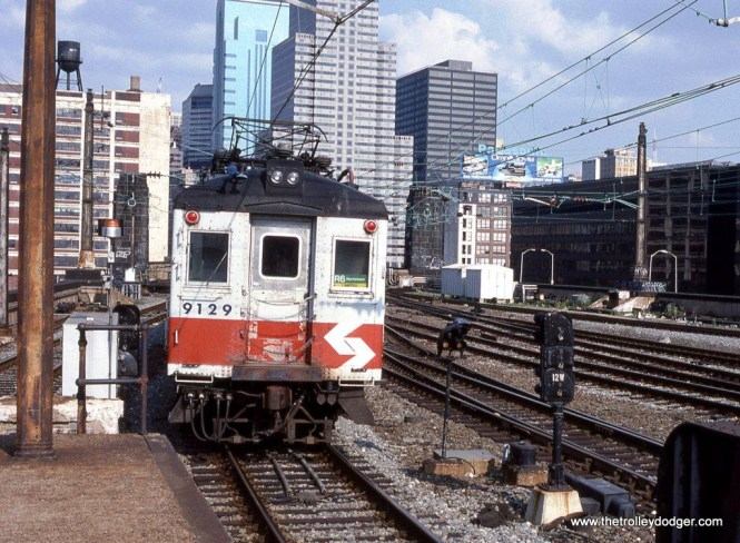 Blueliner #9129 departs from the upper level of 30th Street Station Philadelphia, PA.