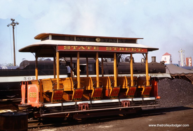 Color photos from the 1948-49 Chicago Railroad Fair are not that common, especially ones like this with replica cable grip car 532, which was actually built by the Chicago Surface Lines in 1934. It can be seen today at the Museum of Science and Industry. Here is how it looked on September 25, 1949. (James J. Buckley Photo)