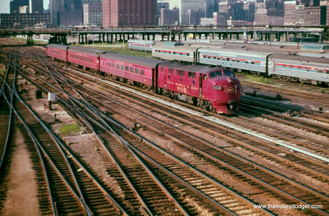 GM&O loco 880-B on an Illinois Central Gulf commuter train, August 23, 1974. (Joseph Piersen Photo)