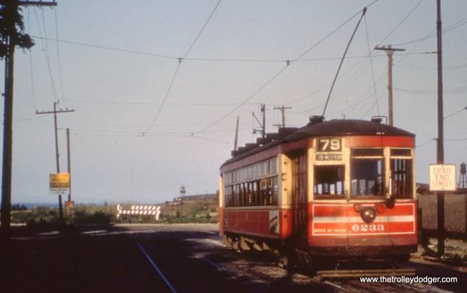 CTA one-man car 6233 at 79th and Brandon on June 10, 1951.