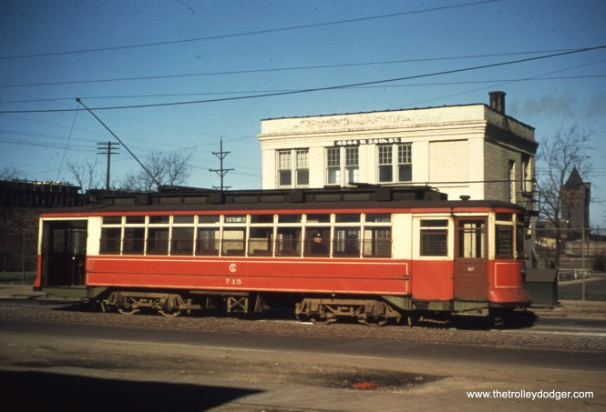 CSL 745 (a 1909 product of the Pressed Steel Company) at 4600 West 26th Street, the border between Chicago and Cicero which was the end of the line for the Blue Island route.