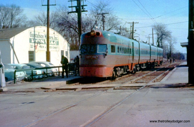 North Shore Line Electroliner 804-803 in Libertyville on February 17, 1957.