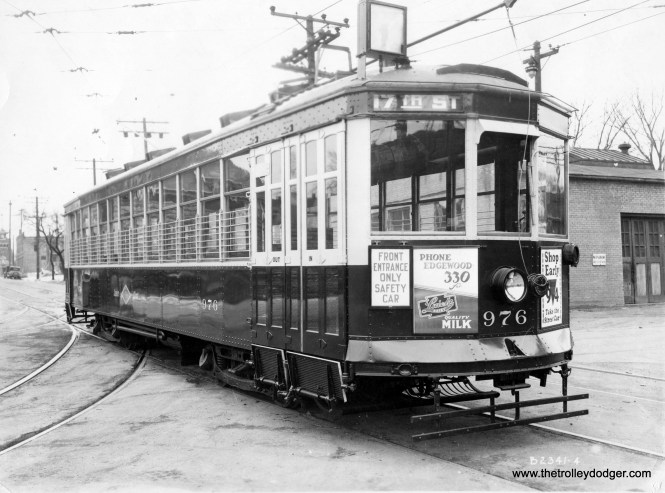 A publicity shot of 976 at 38th and McKinley outside Cold Spring shops. (Larry Sakar collection)