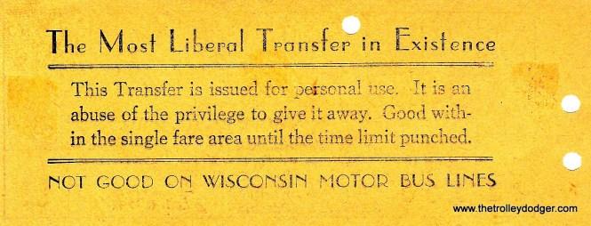 A TMER&L streetcar transfer (back).