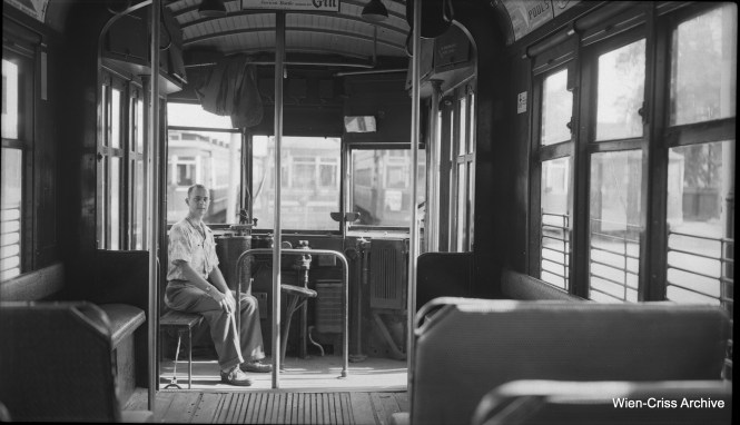 The late Robert Selle, a very gifted photographer, took his own picture inside CTA streetcar 3217 at 69th Street Station on July 12, 1952. (Wien-Criss Archive)