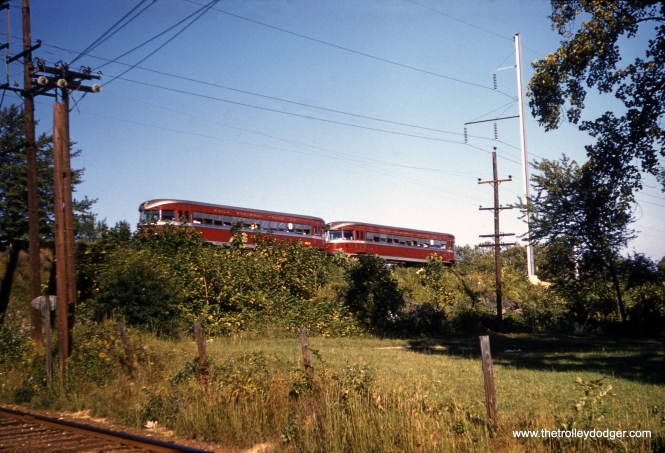 A pair of Bullet cars running in multiple units on the Red Arrow Norristown High Speed Line on September 9, 1958. (Clark Frazier Photo)