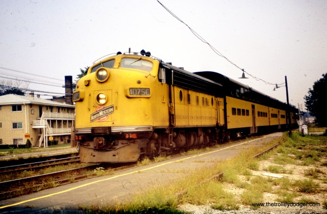 A Chicago & North Western commuter train in Maywood on August 4, 1969. (William Shapotkin Collection)