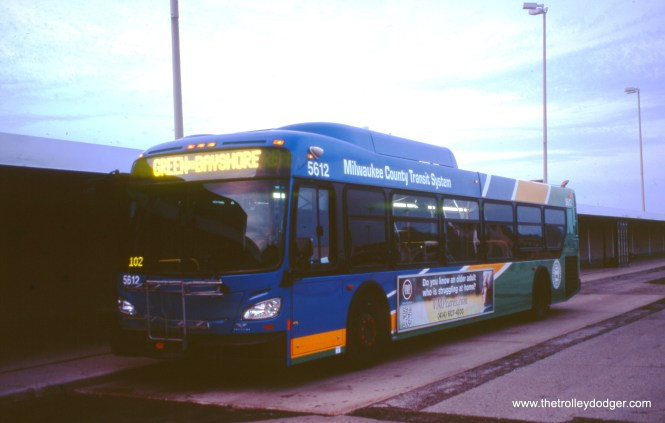 Milwaukee County Transit System 5612 at the Mitchell International Airport cell phone parking lot on April 26, 2017. (William Shapotkin Collection)