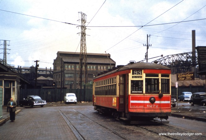 CTA one-man car 6272 is at 89th and Buffalo on Route 93 in April 1948. (William Shapotkin Collection)