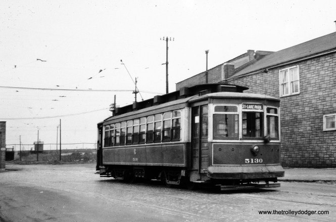 "CSL 5130, signed for 31st and Lake Park. Bill Shapotkin says this car ""is at Archer/Pitney. The view looks N-N/W on Pitney. The car has just changed ends and will take the crossover to head east."" (William Shapotkin Collection)"