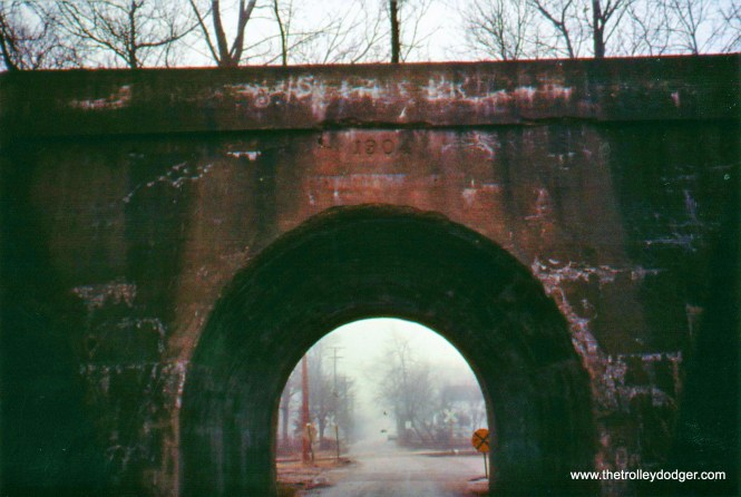 Tunnel beneath abandoned NSL r.o.w. at Rondout, Illinois, showing date built (1904). Taken 1992.