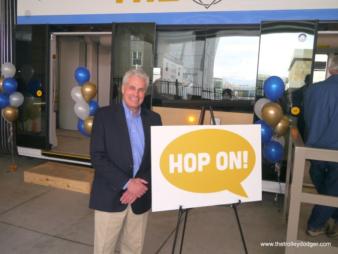 We shook Milwaukee Alderman Bob Bauman's hand and he graciously agreed to pose for pictures for us in front of one of the new streetcars.