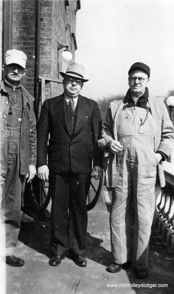 Clyde B. Goodrich, the man in the left, was born in DeKalb, Illinois on May 17, 1887 and died in Florida on September 1, 1970. His wife's name was Winifred (1882-1955). In 1920, Clyde lived in Aurora and was employed by the Chicago, Burlington & Quincy. In the 1940 census, he was living in Wheaton and worked as an engineer on the Chicago, Aurora & Elgin. Clyde B. Goodrich and his wife are buried in Wheaton Cemetery.