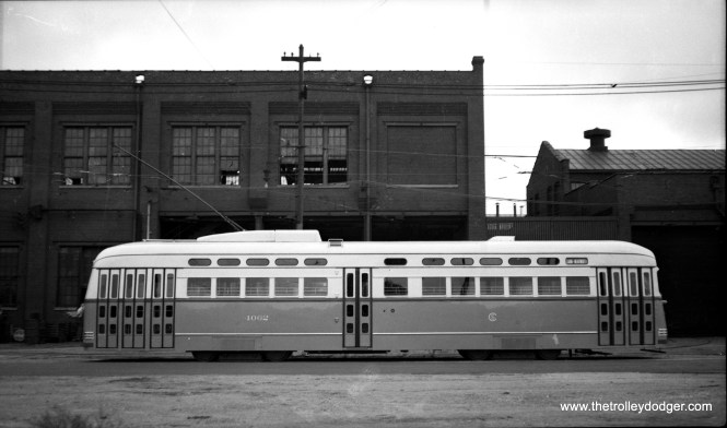 """CSL 4062 was the first postwar PCC put into service. It was built by Pullman. Here, we see it as delivered at 78th and Vincennes on September 30, 1946. Note the different paint scheme the first cars had in the """"standee"""" windows area."""