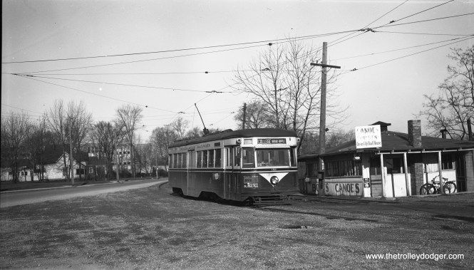 """Indianapolis Railways """"Peter Witt"""" car 181, also known as a """"Master Unit,"""" a Brill trademark, is signed for College-Broad Ripple on April 16, 1952. This car was built in March 1934 and was one of the last streetcar orders filled before the PCC era. (Robert Selle Photo)"""
