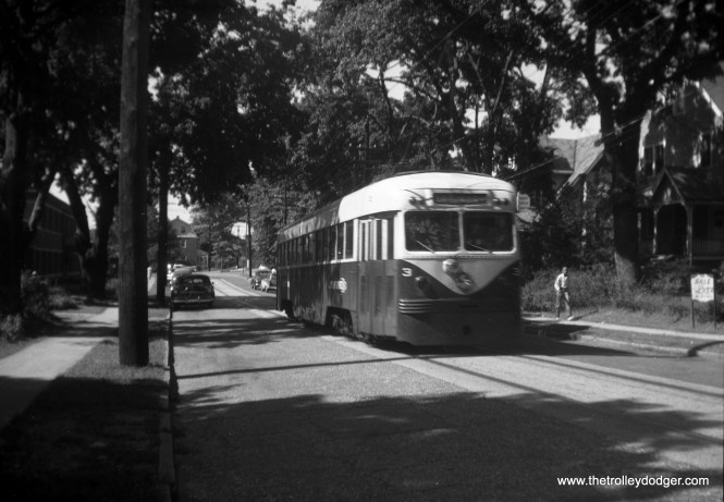 "On September 12, 1959, Philadelphia Suburban Transportation 3, a 1941 ""Brilliner,"" is on Lippincott Avenue north of County Line Road, on the short Ardmore line which was bussed in 1966."