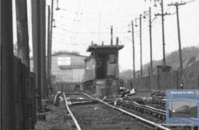 "A close-up of the previous picture, showing some wavy track and the actual station and bumper post (or is it turned-up rail?) at the west end of the Lake Street ""L"" prior to 1962. Riders could board trains at the station, which was located about two blocks west of Harlem Avenue."