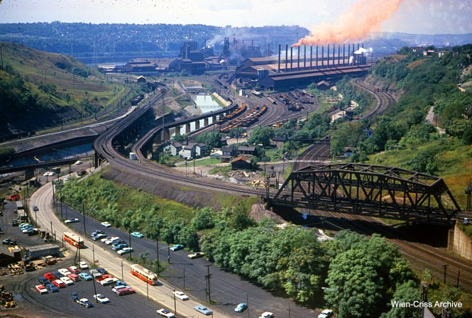 Jeff purchased this slide in 2018. It was processed in September 1965, and shows Pittsburgh streetcars near the Edgar Thomson Steel Works in Braddock, east of Pittsburgh, along the Monongahela River. The location was a mystery until it was identified by some of our readers.