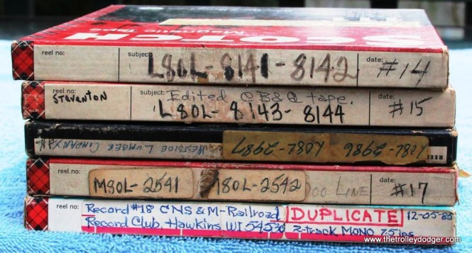 24 A stack of 22 Railroad Record Club Master tapes