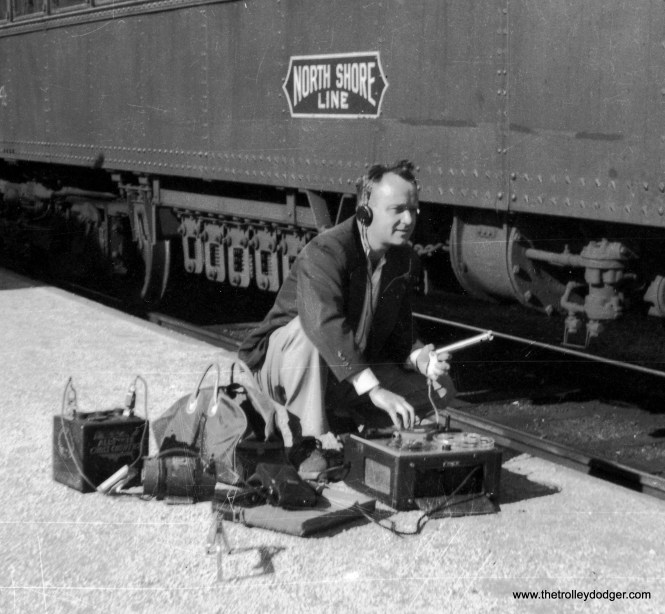 Bill Steventon recording compressor noise on CNS&M interurban