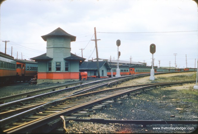 The Chicago Aurora & Elgin's Wheaton Yards on April 13, 1957. From an original red border Kodachrome.