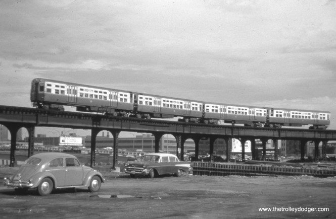"""The old Met main line """"L"""" crossed the footprint of the Northwest Expressway, then being built in 1958, and had to be shored up. Once the Congress line opened, this section of """"L"""" was removed. The new highway opened in 1960."""