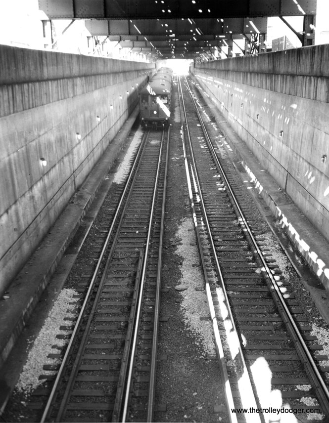 The incline leading to the north end of the State Street Subway in early 1943.