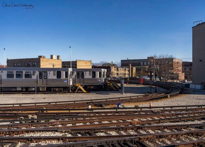 -more Howard Yard. Looks like the trains are charging but held in check by the curve... LOL...