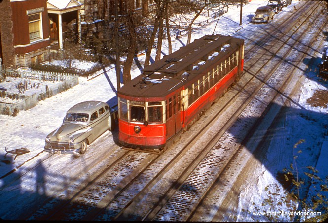 CTA red Pullman 238 is on Kedzie Avenue on a snowy January 17, 1951.