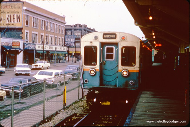 """A train of CTA 6000s waits for the signal to leave the terminal at Lawrence and Kimball on April 21, 1965. The Ravenswood """"L"""" is now the Brown Line."""