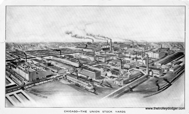 """An early 1900s view of Chicago's Union Stock Yards. The Stock Yards """"L"""" branch can be seen at left. It closed in 1957."""
