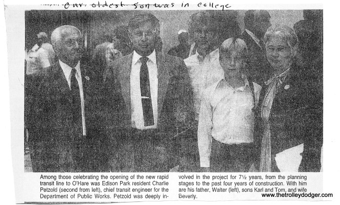 """Building Chicago's Subways is dedicated to the late Charlie Petzold. His widow Beverly sent us this newspaper clipping, showing him with various family members in 1984, when the """"L"""" was extended to O'Hare airport."""