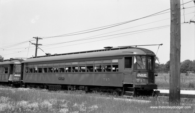 North Shore Line 715 is on the Mundelein branch in July 1950.
