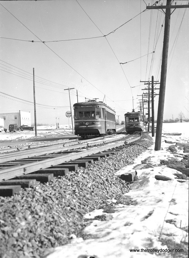 Red Arrow cars 82 and 80 are on the West Chester line, at a passing siding. This interurban was mostly single track, operating alongside West Chester Pike.
