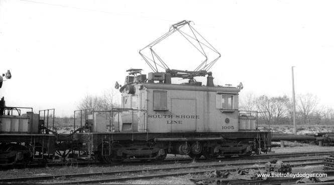 Loco #1005 at Michigan City in April 1940.