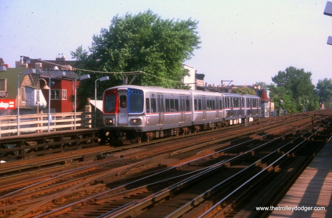 CTA 2177 heads up an Evanston Express train at Armitage on July 10, 1989.