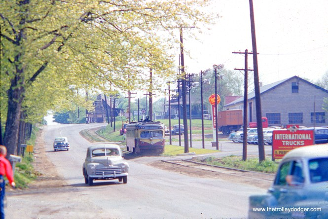 Philadelphia Suburban Transportation Company (aka Red Arrow Lines) car #17 is near West Chester on May 1, 1954. Much of this line was single track, running along the side of West Chester Pike.
