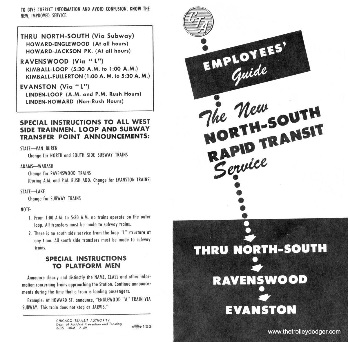 "This CTA brochure, dated July 1949, explains the changes that were coming from the CTA's plan to revise north-south ""L"" and subway service. This included A/B ""skip stop? service and making the Evanston branch a shuttle."
