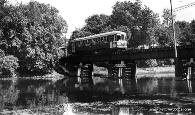 We have seen this picture of C&WT 141 before (it is also in my book Chicago Trolleys), but why pass up another chance to see it again? This is the bridge where the LaGrange line crossed the DesPlaines River, and I believe we are looking the the southeast. (William Shapotkin Collection)