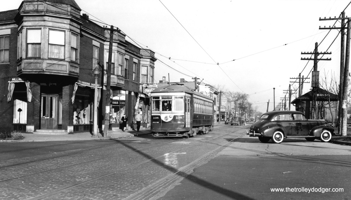 This shows westbound C&WT car 108, signed Berwyn-Lyons, on Stanley having just passed Oak Park Avenue circa 1941. At right is the Berwyn stop on the Chicago Burlington & Quincy. Today, Pace bus route 302 runs here, and commuter train service is under the auspices of Metra. (William Shapotkin Collection)