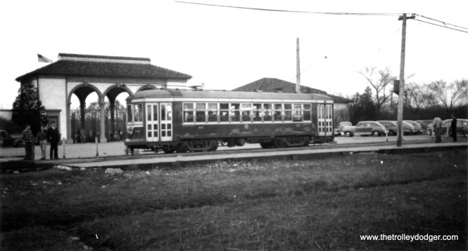 This picture is not very sharp, but it does show a C&WT streetcar stopped at the south parking lot of Brookfield Zoo, sometime in the 1940s. (William Shapotkin Collection)