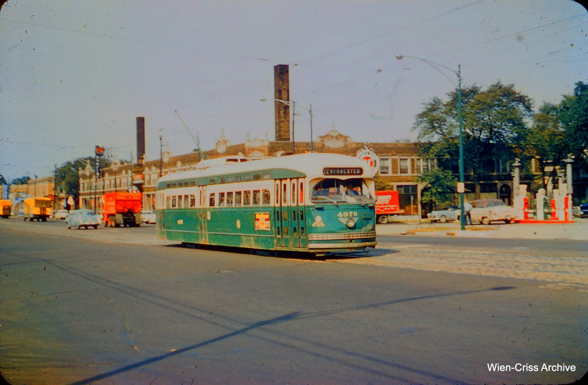 "CTA 4379 is on north Clark Street on September 6, 1957. (Charles H. Thorpe Photo, Wien-Criss Archive) Daniel Joseph adds, ""This streetcar is traveling southbound to 81st & Halsted (as the destination sign states) somewhere near Clark and Glenlake."" (This is, however, on the northern portion of Clark Street as we stated.)"