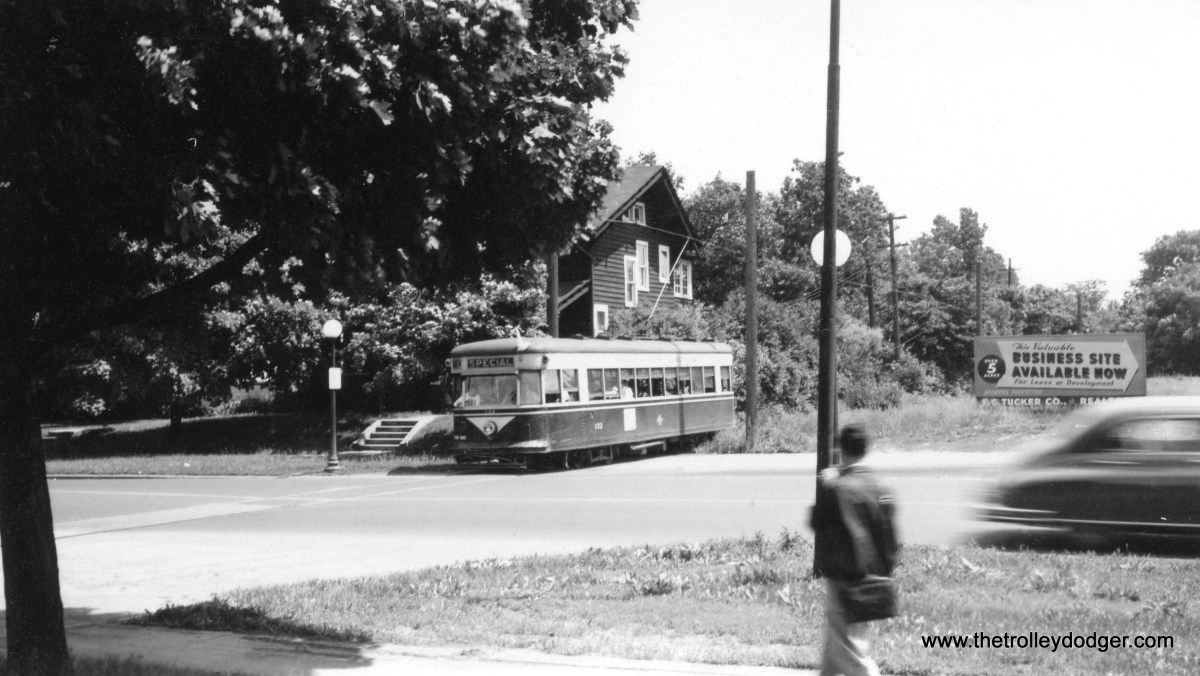 This photo was originally misidentified, but actually shows Indianapolis Railways Peter Witt car #132, apparently on a fantrip, probably circa 1950. The streetcar was a Master Unit (that was a Brill trade name), built circa 1932-33, making it one of the last such orders before the PCC era. Master Units were supposed to be a standardized car, but in actuality I believe no two orders were exactly the same.