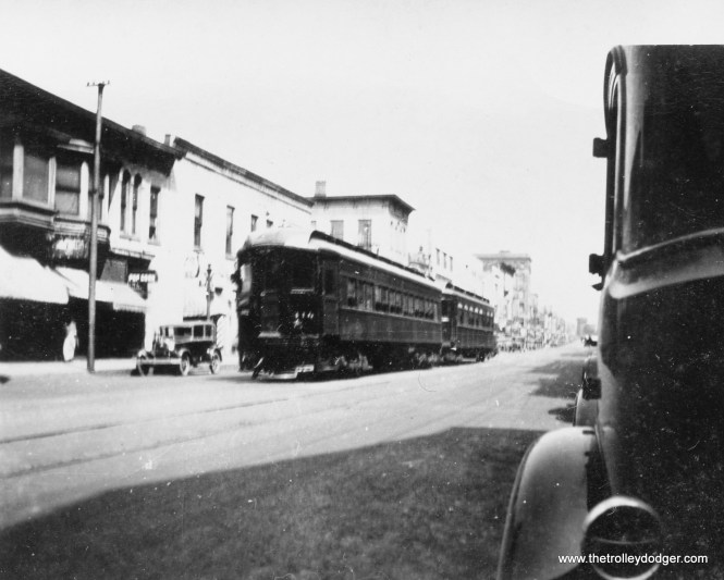 A Chicago, Aurora & Elgin train street running in Aurora in 1931. The CA&E was relocated off-street here in 1939.