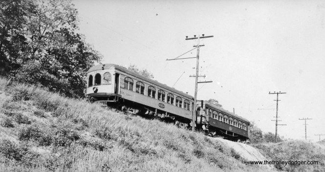 An Illinois Terminal local on Caldwell Hill in East Peoria about 1936.