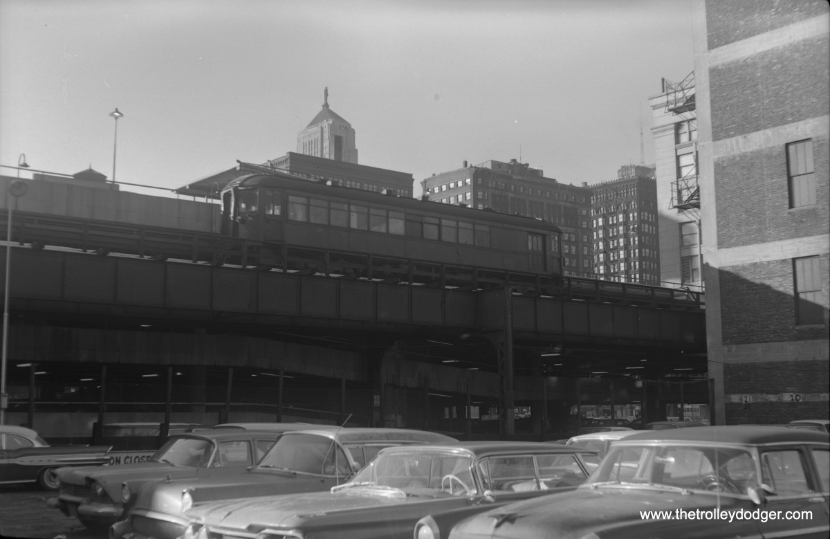 """North Shore Line 254 """"at freight station on """"L""""structure near Loop - January 27, 1962."""""""