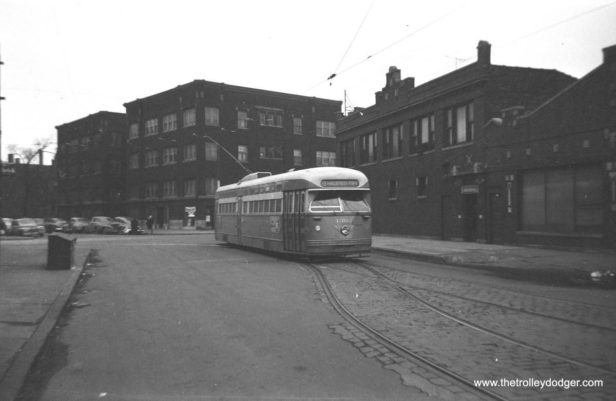 "CTA 4362, a Pullman PCC, on Route 8 - Halsted, most likely in the late 1940s. Jeff Wien adds, ""Rt. 8 car has just pulled off of Broadway onto Waveland to head south on Halsted to 79th Street loop. Photo ca 1951 when Halsted was operated with PCCs, most Pullmans."""
