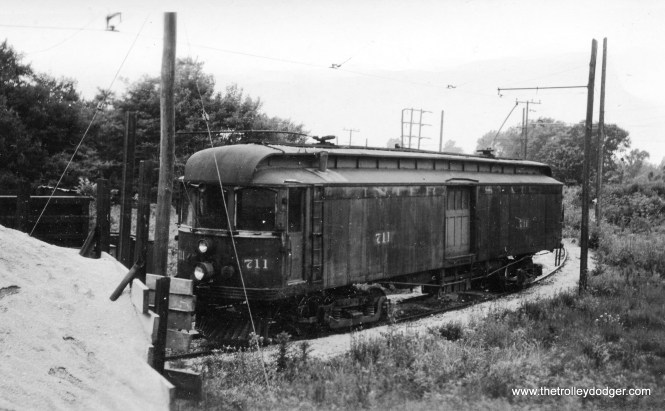 Interstate car 711 on shop siding west of Greencastle on June 3 1939.